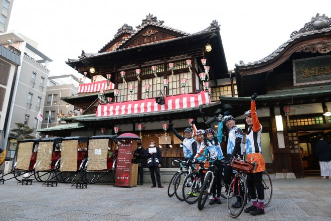 Cyclists at the Dogo Onsen